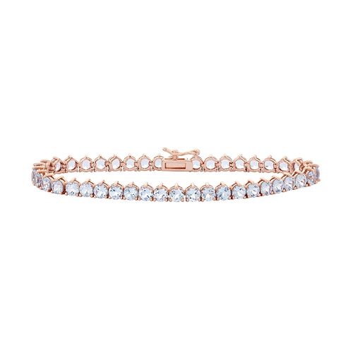 14k Rose Gold Over Silver Lab-Created Aquamarine Tennis Bracelet