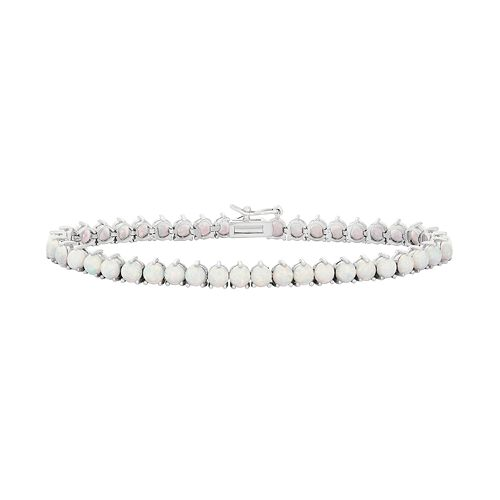 Sterling Silver Lab-Created Opal Tennis Bracelet