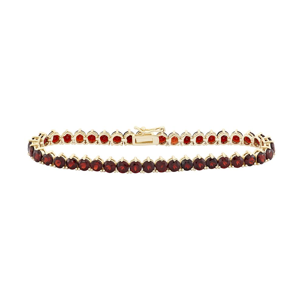 14k Gold Over Silver Garnet Tennis Bracelet