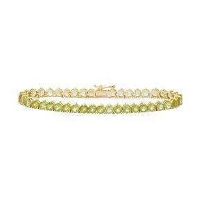 14k Gold Over Silver Peridot Tennis Bracelet