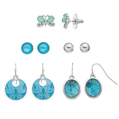 Blue Butterfly Stud & Drop Earring Set