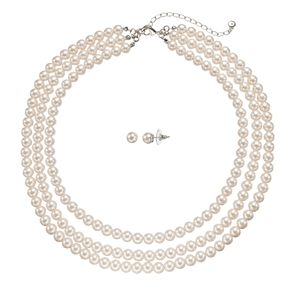 Simulated Pearl Multi Strand Necklace & Stud Earring Set