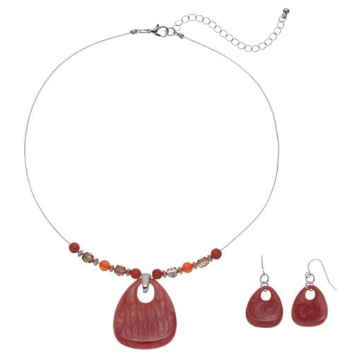 Pink Beaded Teardrop Necklace & Drop Earring Set