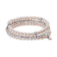 Simulated Crystal & Simulated Pearl Stretch Bracelet Set