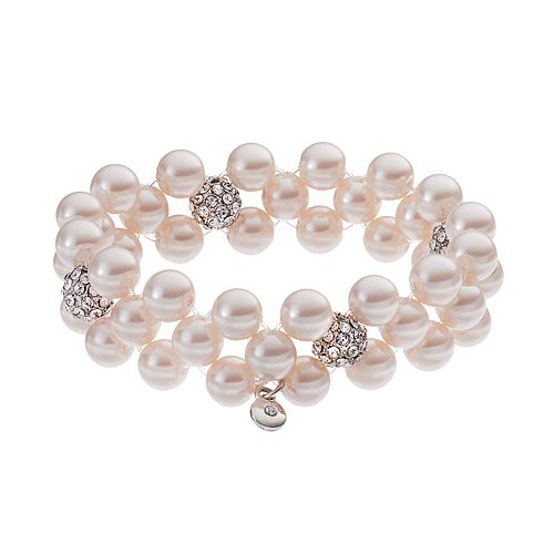 3-Row SImulated Pearl Stretch Bracelet