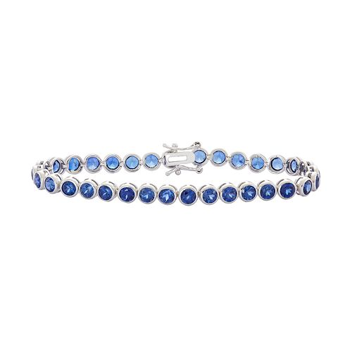 Sterling Silver Lab-Created Sapphire Tennis Bracelet