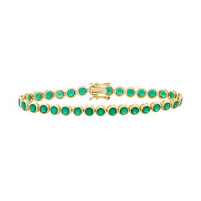 14k Gold Over Silver Green Onyx Tennis Bracelet