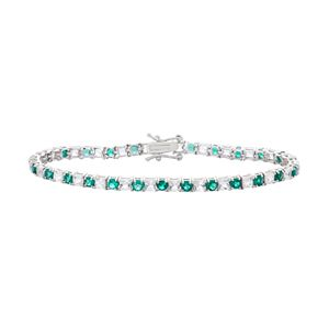 Sterling Silver Lab-Created Emerald & White Sapphire Tennis Bracelet