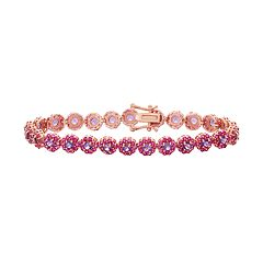 14k Rose Gold Over Silver Amethyst & Lab-Created Ruby Flower Bracelet