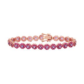 14k Rose Gold Over Silver Amethyst & Lab-Created Ruby Flower Bracelet
