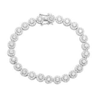 Sterling Silver Lab-Created White Sapphire Flower Bracelet