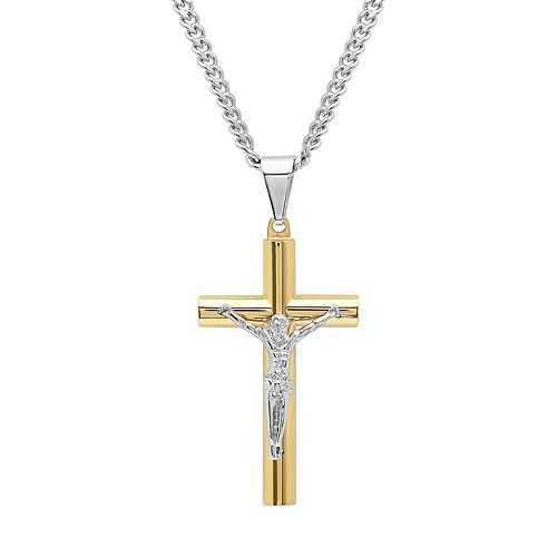 Men's Two Tone Stainless Steel Crucifix Pendant