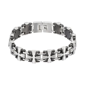 Men's Two Tone Stainless Steel Cross Link Bracelet