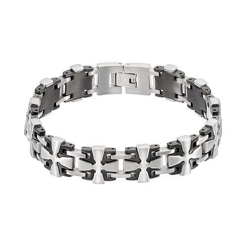 Men's Two Tone Stainless Steel Cross Link Bracelet