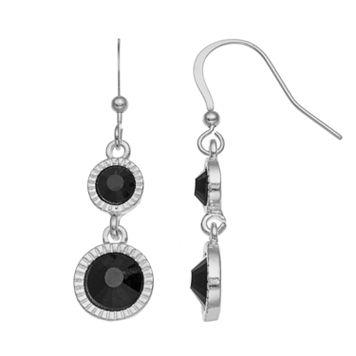 Black Double Circle Drop Earrings