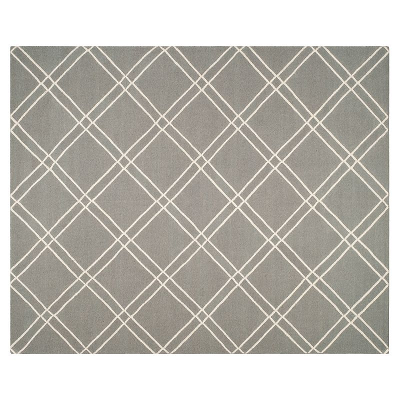 Safavieh Dhurries Crossnet Handwoven Flatweave Wool Rug, Grey, 5X8 Ft
