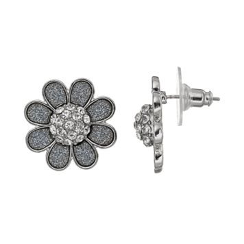 Glitter Flower Stud Earrings