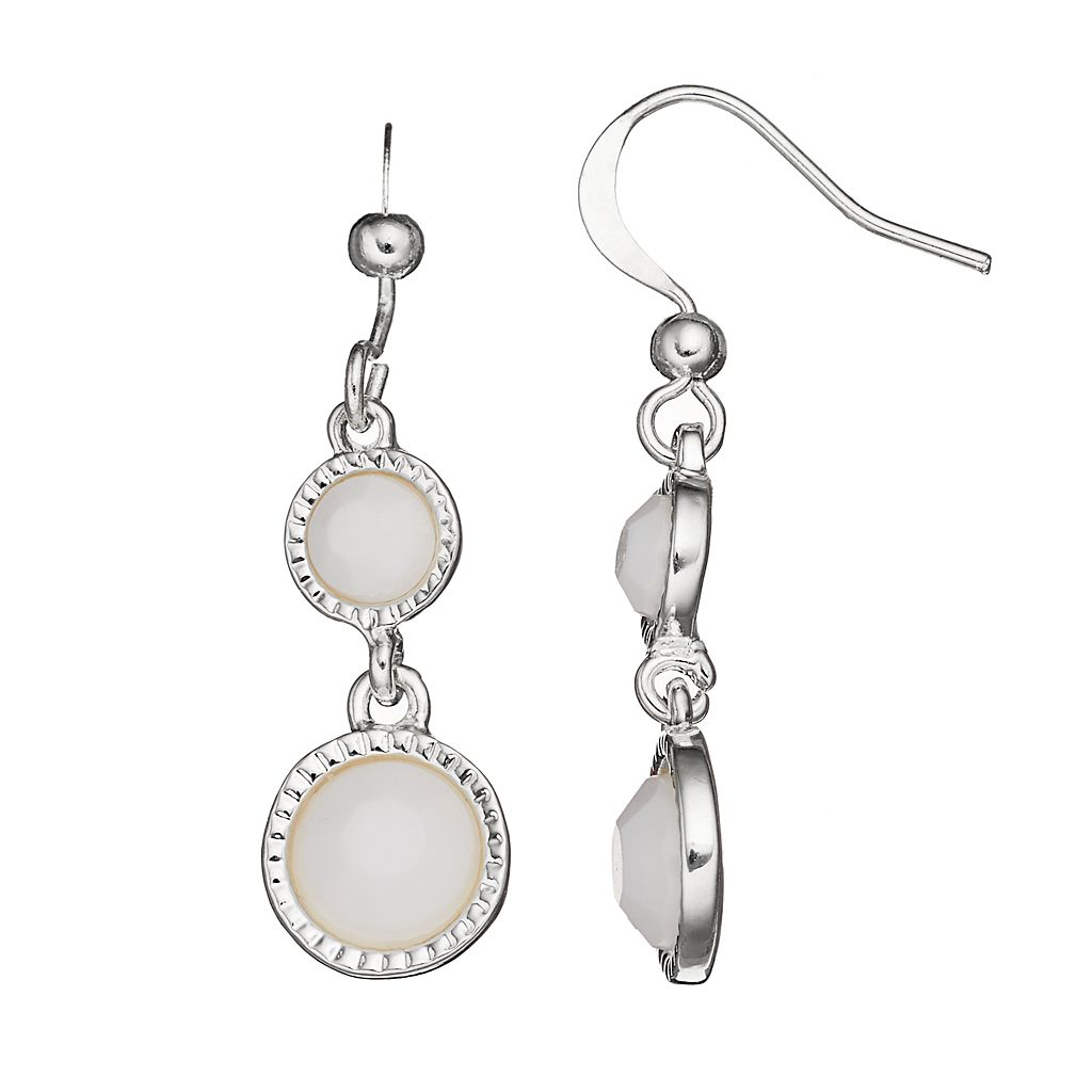 White Double Circle Drop Earrings
