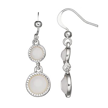White Double Circle Drop Earrings