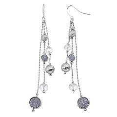 Apt. 9® Beaded Blue Glittery Disc Linear Drop Earrings