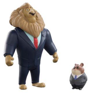 Disney's Zootopia Mayor Lionheart & Lemming Businessman Character Figure Set by Tomy