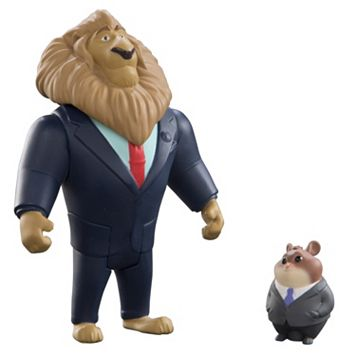 Disney's Zootopia Mayor Lionheart & Lemming Businessman Character Figure Set by Tomy