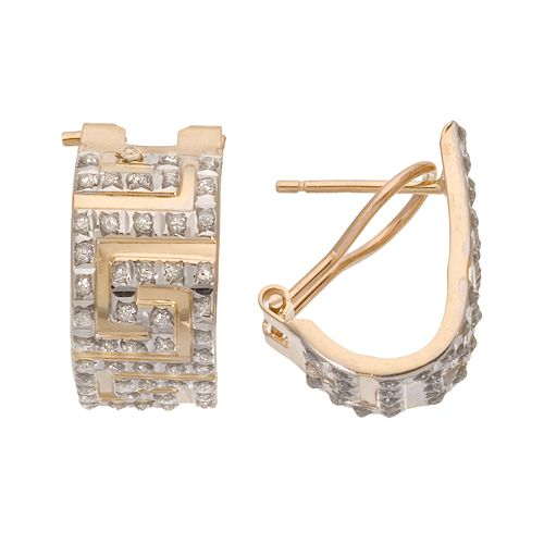 Diamond Fascination 14k Gold Greek Key Hoop Earrings