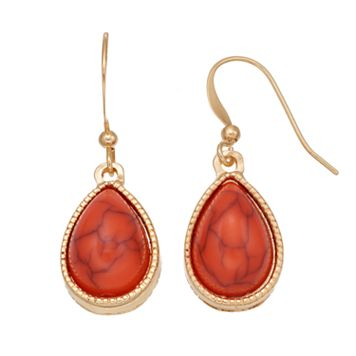 Simulated Coral Cabochon Teardrop Earrings