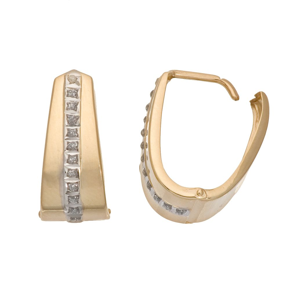 Diamond Fascination 14k Gold U-Hoop Earrings