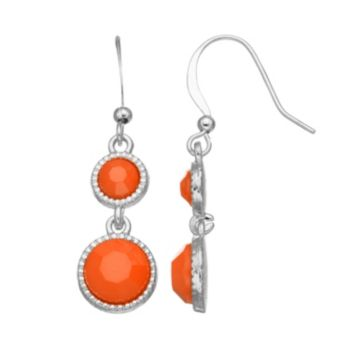 Coral Colored Circle Drop Earrings