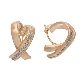 Diamond Fascination® 14k Gold X-Hoop Earrings