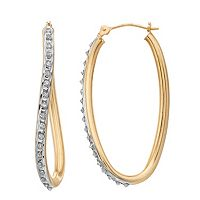 Diamond Fascination® 14k Gold Oval Wave Hoop Earrings