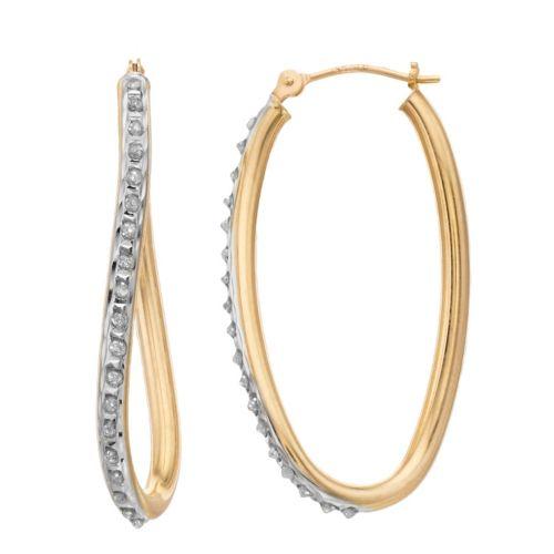 Diamond Fascination 14k Gold Oval Wave Hoop Earrings