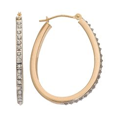 Diamond Fascination® 14k Gold Horseshoe Hoop Earrings