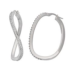 Diamond Fascination 14k White GoldSwirl OvalHoop Earrings