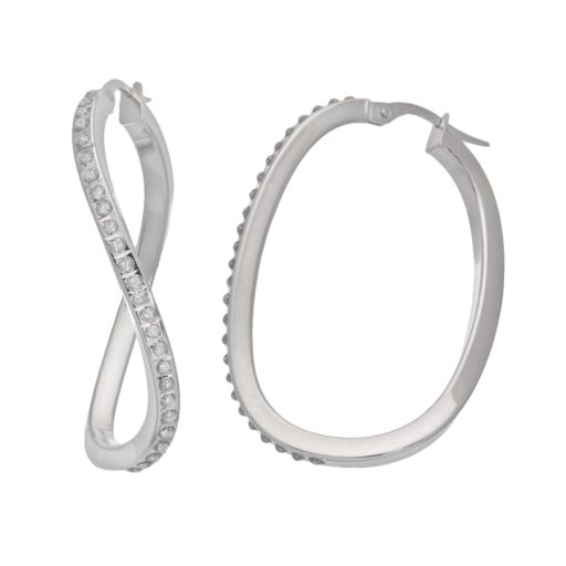 Diamond Fascination 14k White Gold Swirl Oval Hoop Earrings