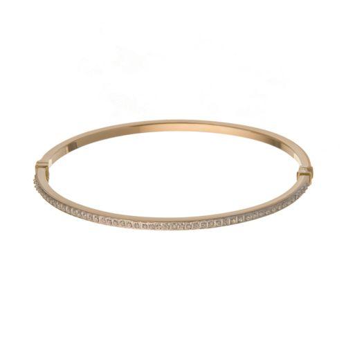 14k Gold Diamond Fascination Bangle Bracelet - 7-in.