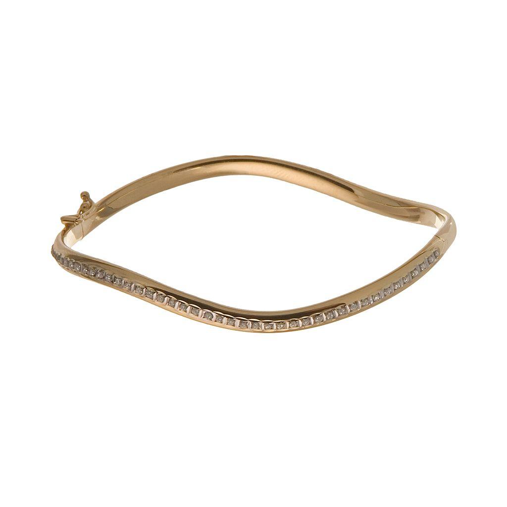Diamond Fascination® 14k Gold Wave Bangle Bracelet