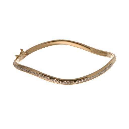 Diamond Fascination 14k Gold Wave Bangle Bracelet