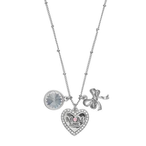 "Charming Inspirations ""Mom Love"" Heart & Bow Charm Necklace"