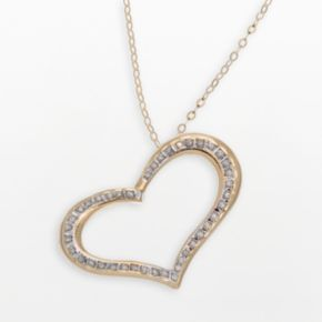 Diamond Fascination 14k Gold Wide-Heart Pendant