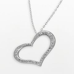 Diamond Fascination® 14k White Gold Heart Pendant