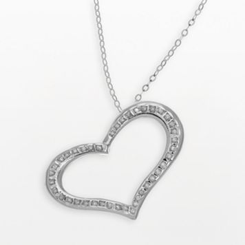 Diamond Fascination® 14k White Gold Heart Pendant
