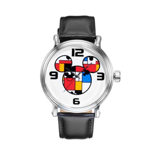 Disney's Mickey Mouse Colorblock Men's Leather Watch