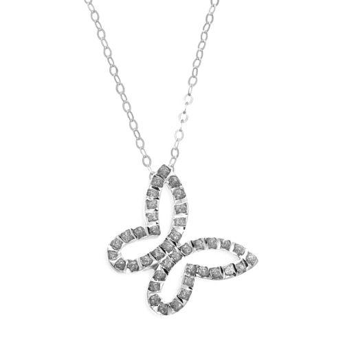 Diamond Fascination 14k White Gold Butterfly Pendant