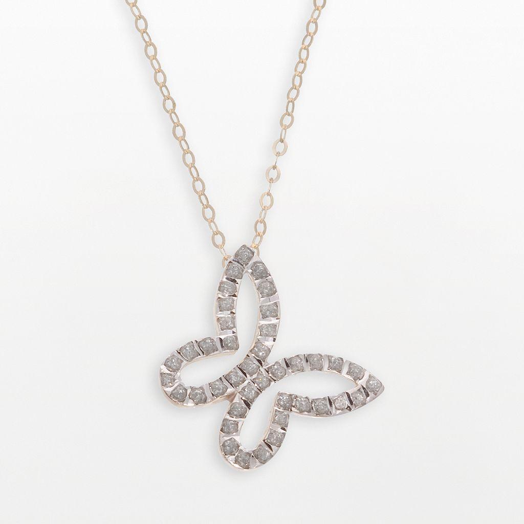Diamond Fascination® 14k Gold Butterfly Pendant