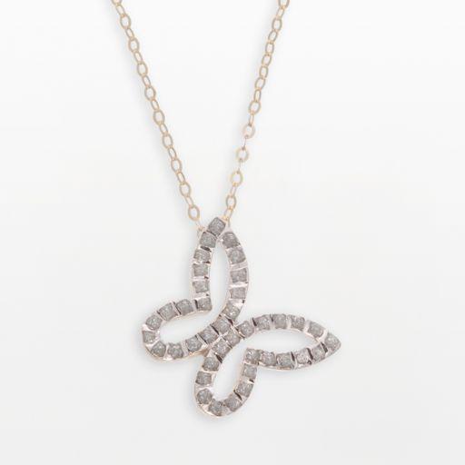 Diamond Fascination 14k Gold Butterfly Pendant