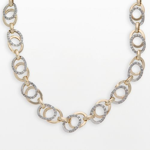 Diamond Fascination 14k Gold Two Tone Diamond Accent Oval Link Necklace
