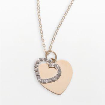 Diamond Fascination 14k Gold Two-Tone Shadow Heart Pendant