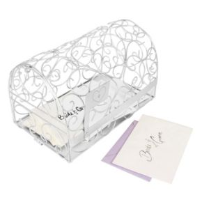 Cathy's Concepts Monogram Heart Silver-Tone Mailbox Card Holder